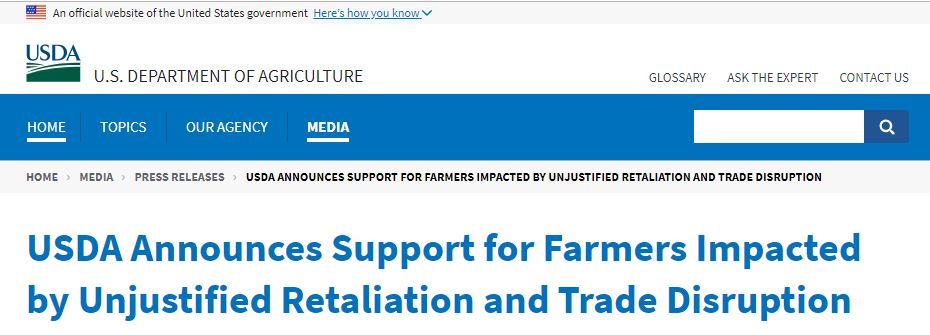 USDA Announces Support for Farmers Impacted by Unjustified Retaliation and Trade Disruption